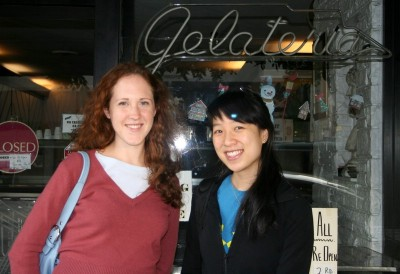 Nic and Jessica in front of Al Gelato