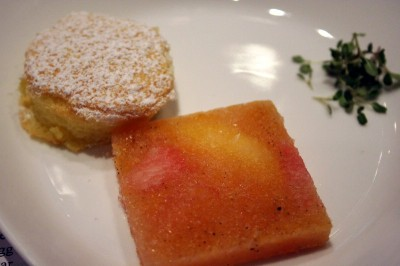 Frozen grapefruit and orange carpaccio with warm almond cake
