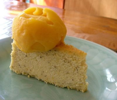 mango sorbet with green tea cheesecake