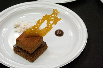 Almond dacquoise, milk chocolate parfait, salted caramel tuile, Sandro Micheli, Daniel