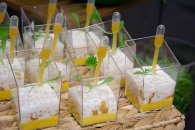 Tapioca, pineapple confit, lime, passion and mango cremeux and limi coconut creme, Chris Hanmer, The School of Pastry Design