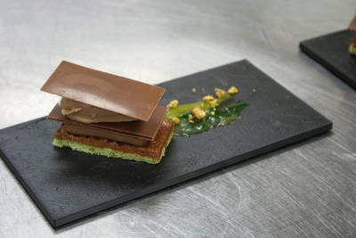 Pistachio cake with milk chocolate, Marc Aumont, The Modern