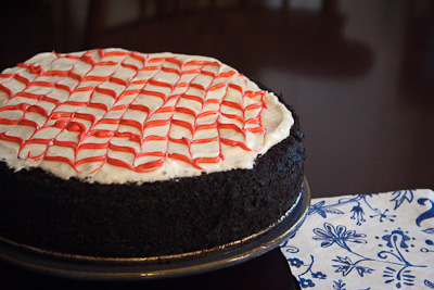 chocolate cake with peppermint frosting