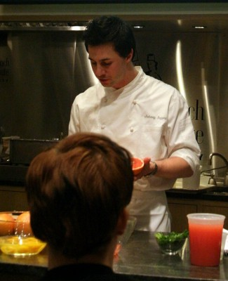 Johnny Iuzzini shows off the red-fleshed grapefruit